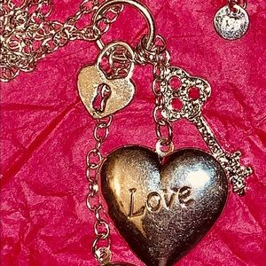 Sterling silver locket charm necklace
